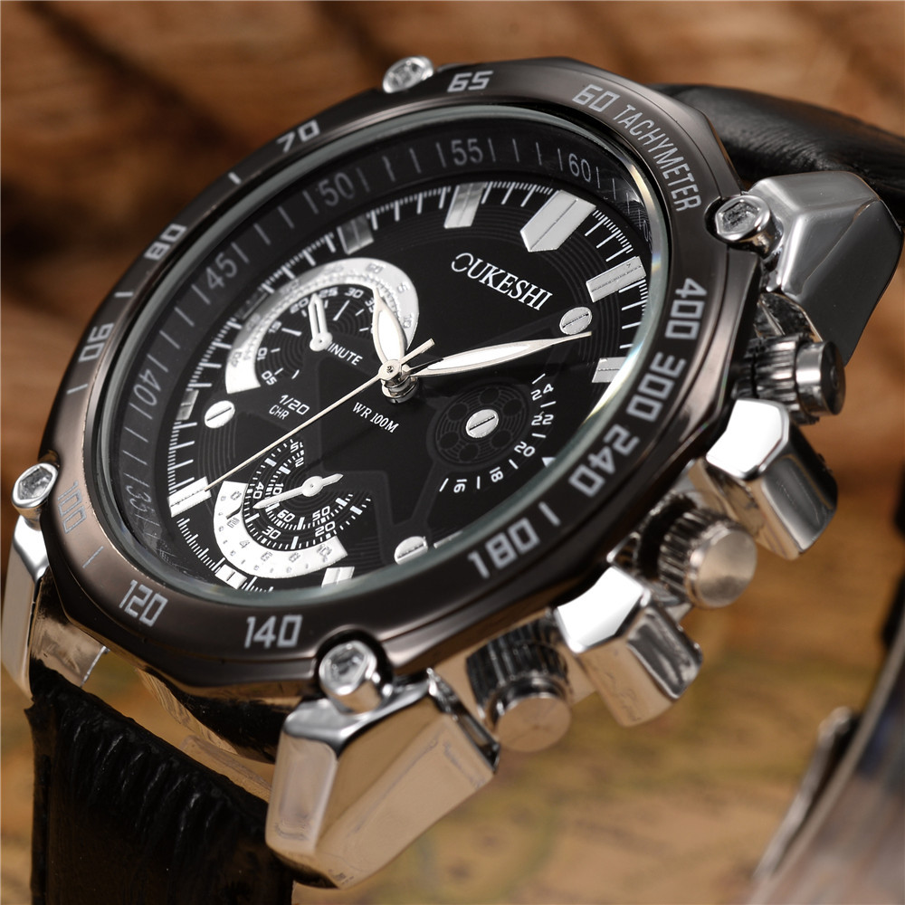 Fashion Men Watches Top Brand Luxury Chronograph Function Date Leather Sport Watch Men Business Quartz Wrist