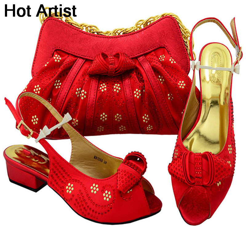Hot Artist Italian Style Rhinestone Shoes And Bags Set African Fashion Middle Heels 6.5CM Shoes And Bags Set For Party MM1050 italian visual phrase book