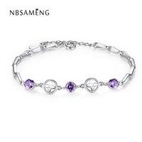 100 925 Sterling Silver Jewelry Purple Crystal Charm Bead Bracelet Women Amethyst Clover Flower Friendship Bracelets