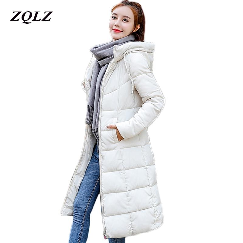 Zqlz Plus Szie 6xl Hooded   Parka   Mujer 2018 Winter Jacket Women Long Paragraph Outerwear Down Cotton Padded Jackets Female Coat