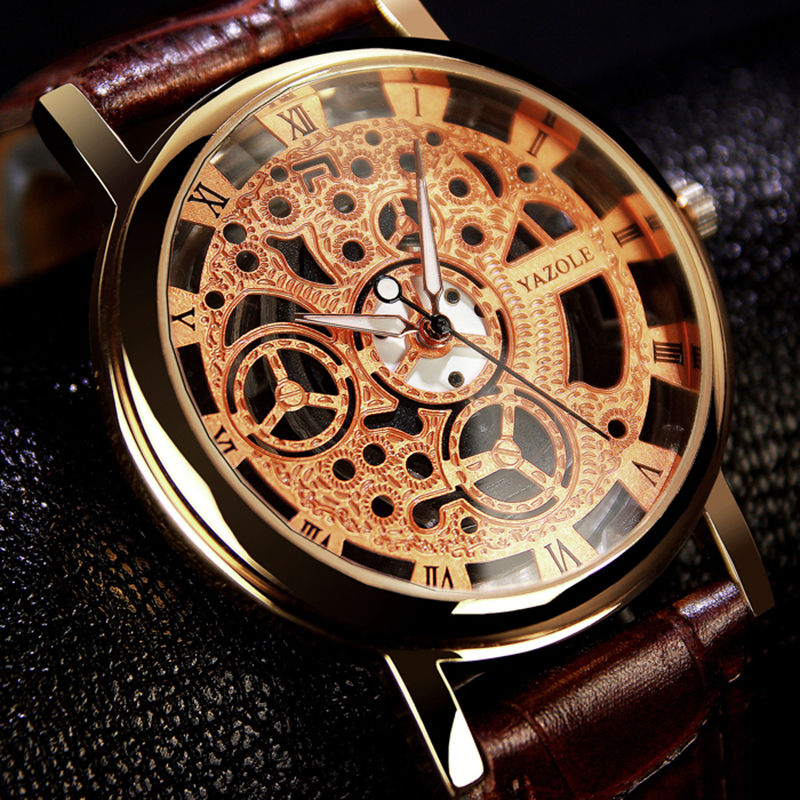 YAZOLE Mens Watches Top Brand Luxury Skeleton Watch Men Watch Fashion Men's Watch Clock Relogio Masculino Hombre Saat Wristwtach