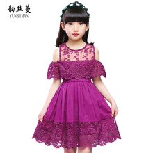 лучшая цена New Baby Girl dress 2019 summer Children's Hollow Lace Princess Dresses kids Party Dress Clothes for girls 4 5 6 7 years old
