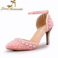Fashion Sandals pink/white pearl rhinestone wedding shoes Sexy Style Pointed Toe buckle strap bridal Pumps High Heels shoes