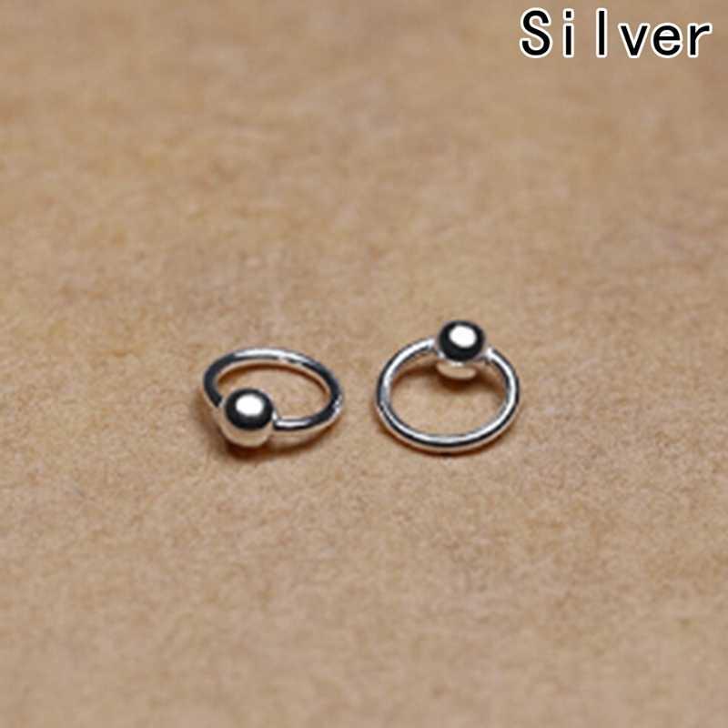 1 Pair Phẫu Thuật Thép Hoop Nose Nhẫn Bóng Closure Lip Ear Lông Mày Mũi Phổ Piercing Sụn Earring 4 Kích Thước
