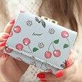 2016 Korean women wallets leather wallets zipper short Fruit Flower purse clutch women wallet card holder carteira masculina