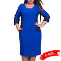 Winter Office Women Plus Size Patchwork Dress 4Xl 5Xl 6Xl Large Size Casual O-Neck 3/4 Long Sleeve Bodycon Dress