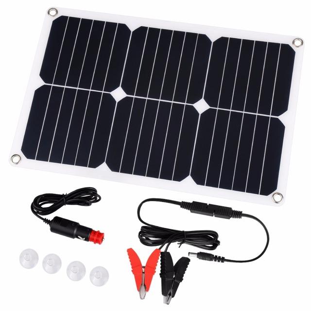 Suaoki 18V 18W SunPower Solar Panel Solar Car Battery Charger Cigarette Lighter Plug Battery Charging Clip Line Suction Cups