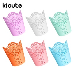 Kicute 1pc candy color hollow flower pencil holder plastic pen holder makeup brush holder multifunctional storage.jpg 250x250