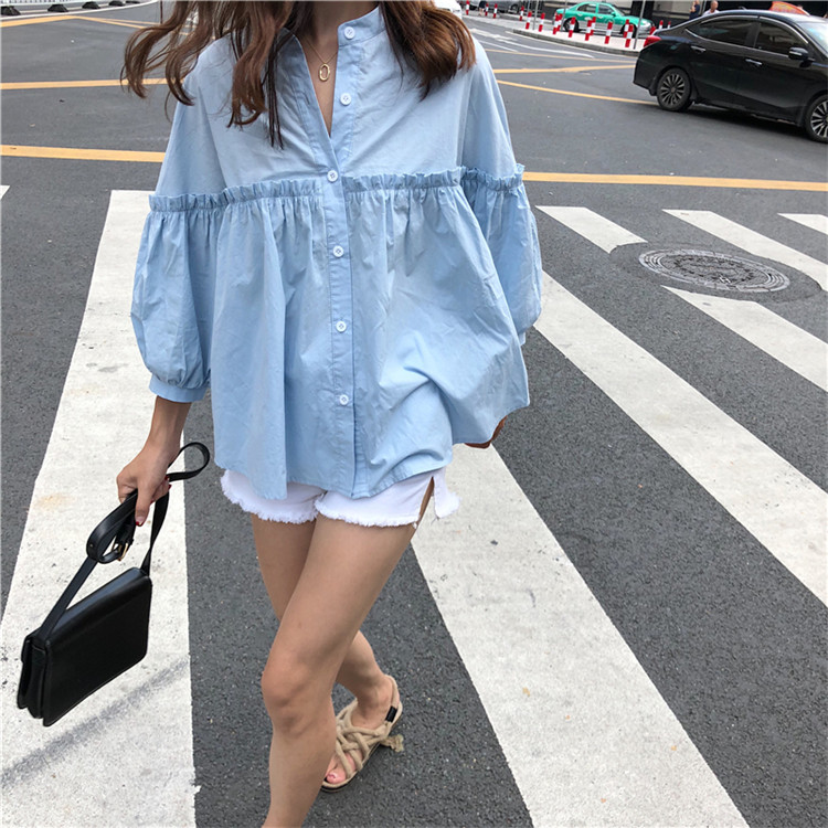 Alien Kitty Womens Solid Light Blue Sweet Shirt Girls New Summer Tops Loose Casual Lantern Sleeve Single-breasted Blouse Blusas 12