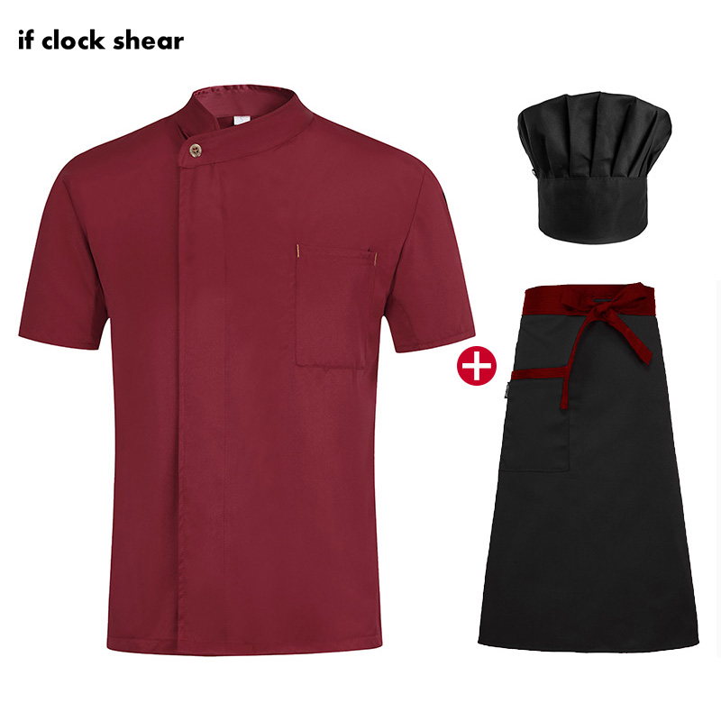 IF High Quality Hotel Catering Shirts Unisex Chef Restaurant Uniforms Bakery Chef Jackets Kitchen Work Clothes Hat Apron Summer
