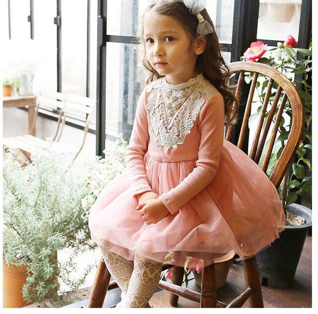 Toddler Baby Girls Beaded Crochet Lace Dress Fall Long Sleeve
