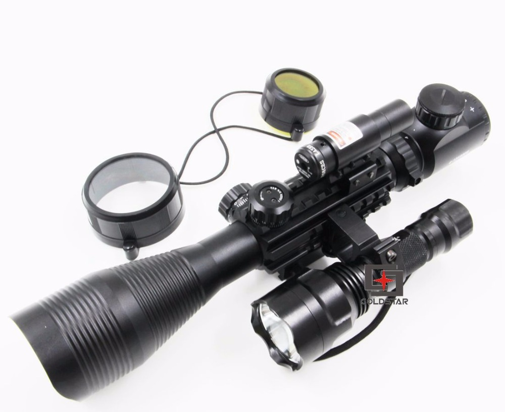Airsoft Compact Combo C 4-12x50EG Rifle Scope w/ Laser Sight &  T6 LED Hunting Flashlight C8 Torch Flash Light For Shooting Gun xl nxf rg 5mw green laser gun sight w weaver mount led flashlight black 3 x cr 1 3n
