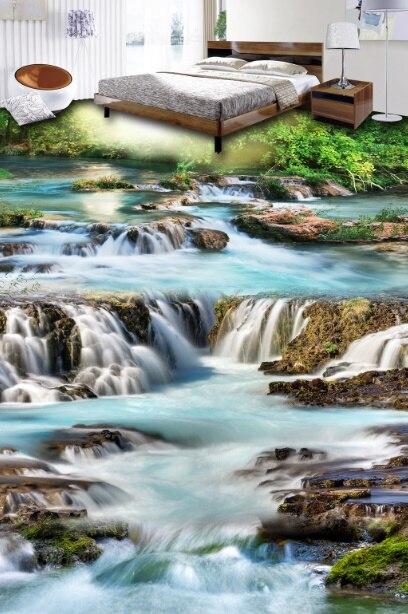 [Self-Adhesive] 3D Sun Forest Creek 33 Non-slip Waterproof Photo Self-Adhesive Floor Mural Sticker WallPaper Murals Print Decal