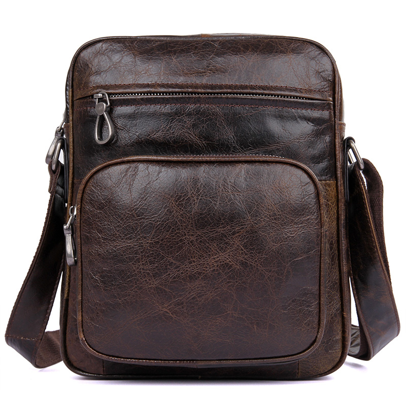 Genuine Leather Messenger Bag Popular Brown Vintage Brand Small Business Travel Casual Crossbody Shoulder Bags Mini Small Bag