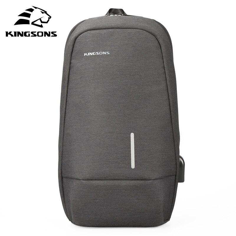 Kingsons 2018 Men's Fashion Casual Chest Bag Usb Charging Fashion Casual Shoulder Diagonal Package Computer Bag Messenger Bag