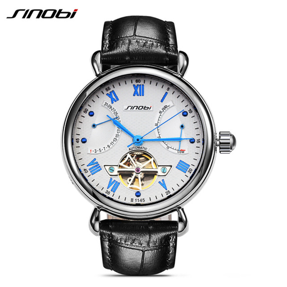 SINOBI Designer Men Self Wind Genuine Leather Mechanical Automatic Watch Mens Watches Top Brand Luxury montre automatique homme zengli mens denim cargo shorts jeans casual vintage blue pockets biker jeans summer knee length denim shorts 40 42 44 46 48