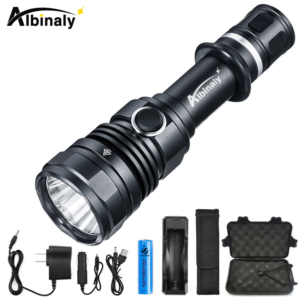 Albinaly LED Tactical Flashlight CREE XM-L2 8000LM Powerful torch with Dual Switch and Memory Function Technology+Free gift