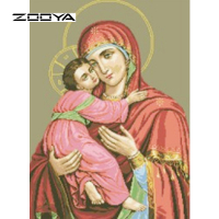 Drill Diamond Painting Cross Stitch Rhinestone Crystal Picture Christian Religion Madonna And Child House Decor Tweezer
