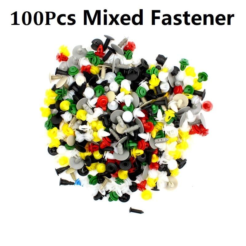 Смешанный авто бампер колеса брови крыло пластиковый крепеж винт заклепки для всех автомобилей Клип Набор - Название цвета: MIX 100PCS