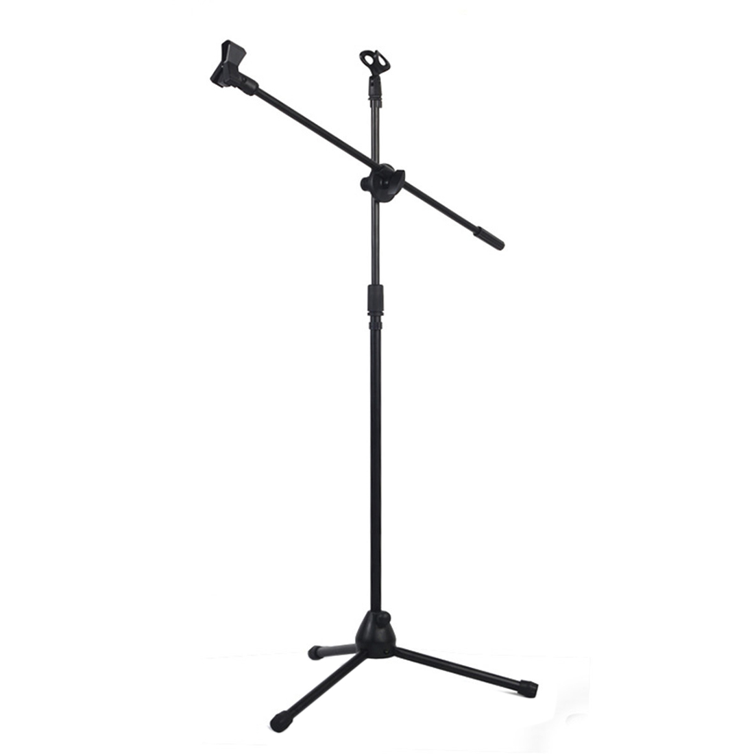 SCLS Universal Professional Swing Boom Floor Stand Microphone Holder Adjustable Detachable Double-headed Stage Clip Tripod