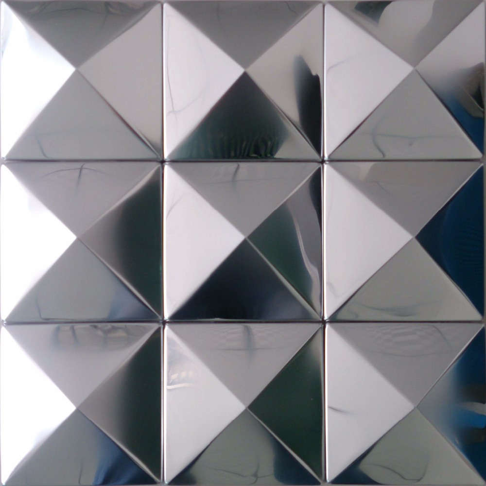 tst pyramid metal tiles silver glossy mosaic tiles awesome decorative wall tiles design stainless steel backsplash home decor