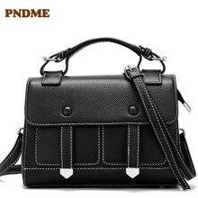 Casual leather womens single-shoulder bag pure color retro handbag