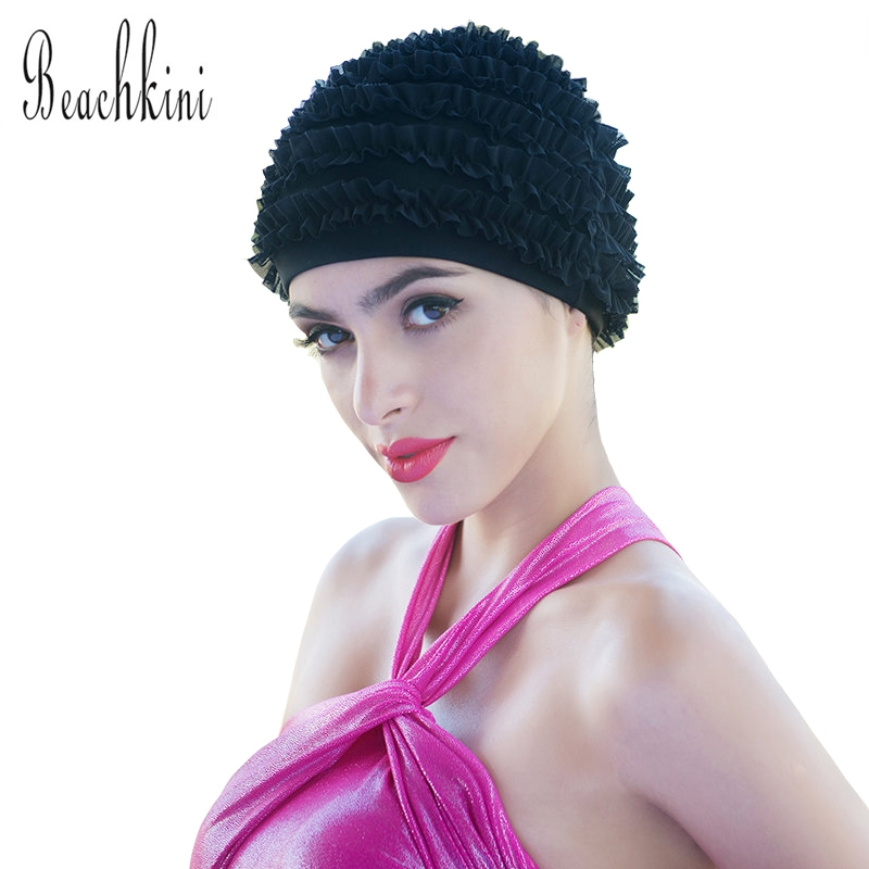 Solid Color Seaside Sports Fold Swimming Cap High Quality And High Elasticity Swim Cap