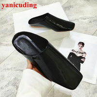 Square Toe Women Flats Patent Leather Stylish Women Spring Autumn Brand Shoe Fashion Slipper Black Yellow