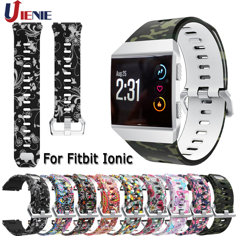 Silicone Watchband Straps For Fitbit Ionic Smart Watch Band Pattern Printed Strap Sport Replacement Wristband For Fitbit Ionic