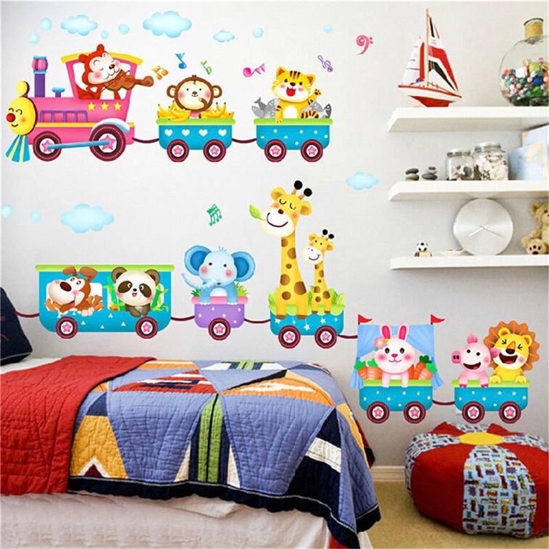 Cute Cartoon Animal Monkey Giraffe Train Wall Sticker Vinyl Removable Decal Mural Art DIY Home Baby Kids Room Nursery Decoration(China)