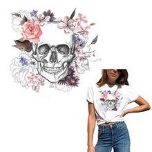Fashion Skull Iron On Patches For Clothing Rose Fabric Badge Heat Transfer T-shirt Washable Decoration Sticker Clothes Y-078