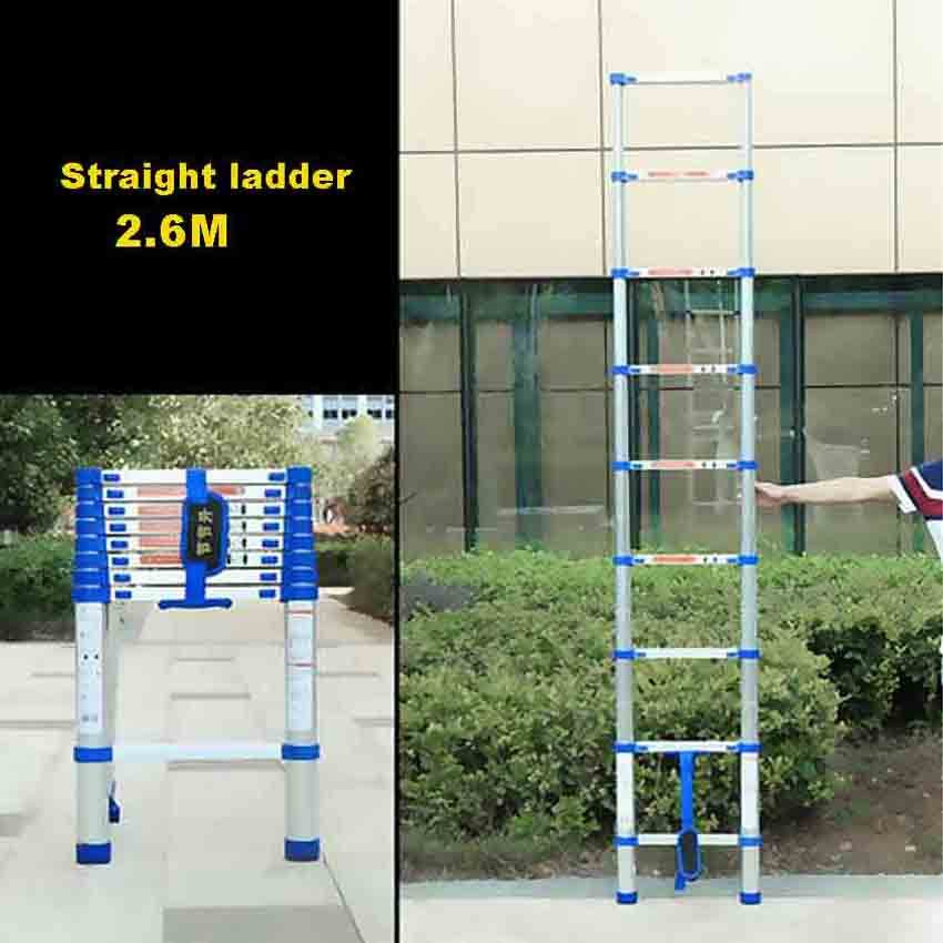 JJS511 High-quality Thicken Aluminium Alloy 2.6 Meters 9-Step Single-sided Straight Ladder Portable Household Extension Ladder