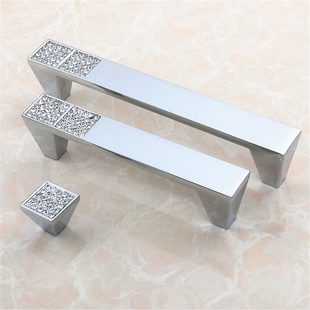Crystal Diamond Furniture Handle Bright Chrome Zinc Alloy Drawer Handle  Modern Simple Cabinet Door Hardware Handle