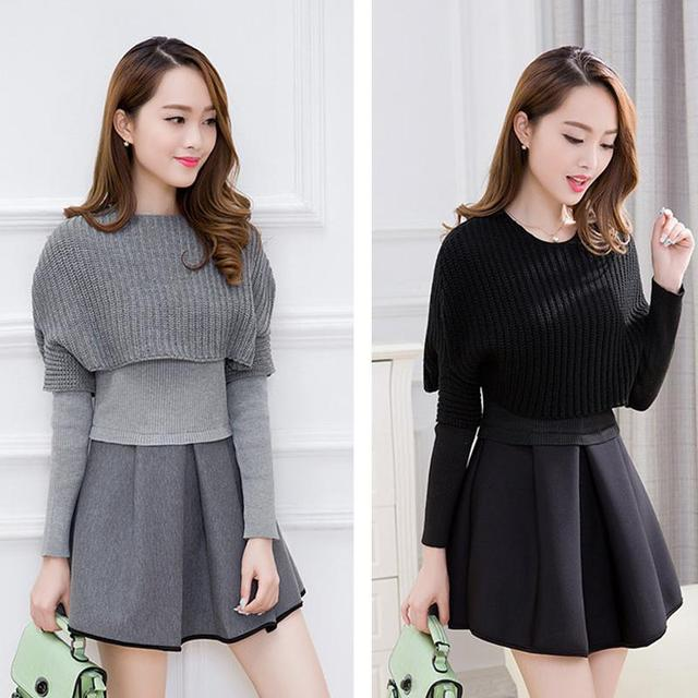 New Women Fashion Long Sleeve Two-piece Skirt suit knitting Sweater A Line Short Empire Solid Color Suit