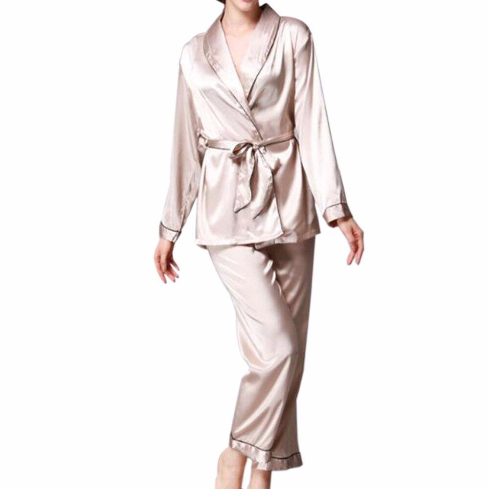 Girls Women Luxury Silk Satin Turndown Collar Pajamas Set Long ... 723b466e6