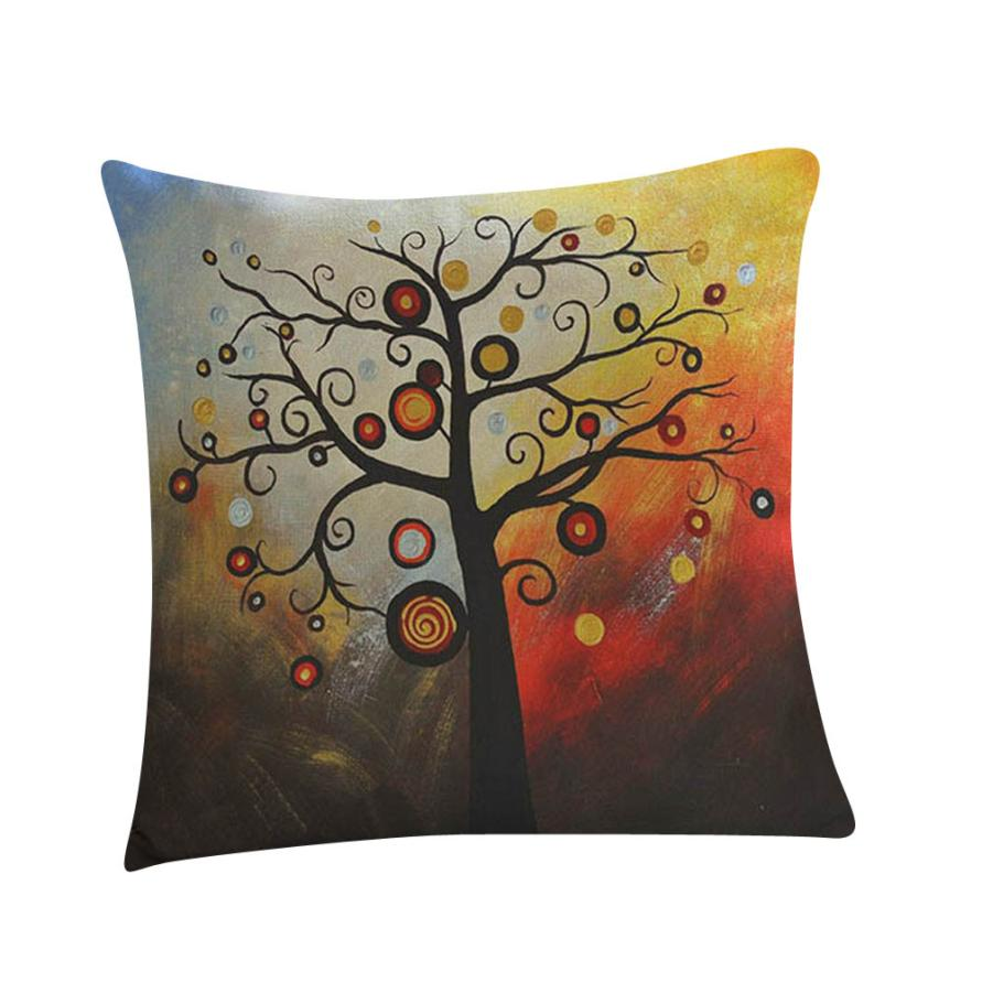 Ouneed Oil Painting Linen Cushion Cover Throw Waist Pillow Sofa Home Decorative Home Office Hotel Car Use Flax Cushion Cover