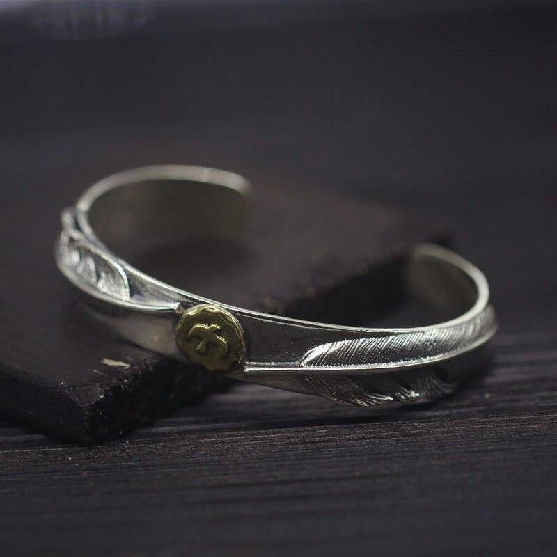 Твердые стерлингового серебра 925 Перо манжеты браслет и браслет Для мужчин Для женщин Винтаж индийский Стиль Топ Мода Серебро 925 Для мужчин S...