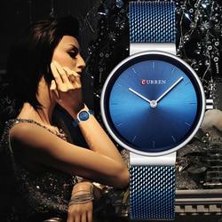 CURREN Wrist Watch Women Watches Luxury Brand Steel Ladies Blue Quartz Women Watches Sport Relogio Feminino Montre Femme 9016