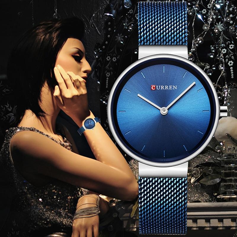 Reloj de pulsera CURREN relojes de mujer de marca de lujo de acero para mujer relojes de cuarzo azul para mujer reloj deportivo femenino Montre mujer 9016