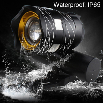 Light Bike Front Lamp Outdoor Zoomable, Torch Headlight USB Rechargeable Built-in Battery 15000LM 10