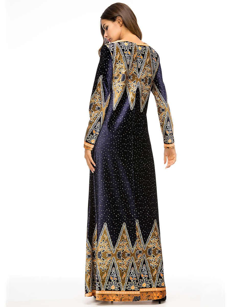 Мусульманское Для женщин одежда с длинным рукавом бархатная набивка платье из Дубаи платье макси Абаи Исламская одежда для женщин халат кафтан Moroccan Vestido