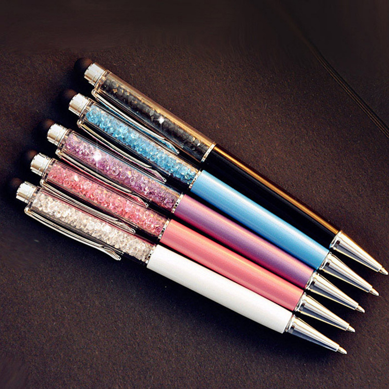 5 Pcs/lot Cute Diamond Ballpoint Pens Stationery Ballpen 2 In 1 Crystal Stylus