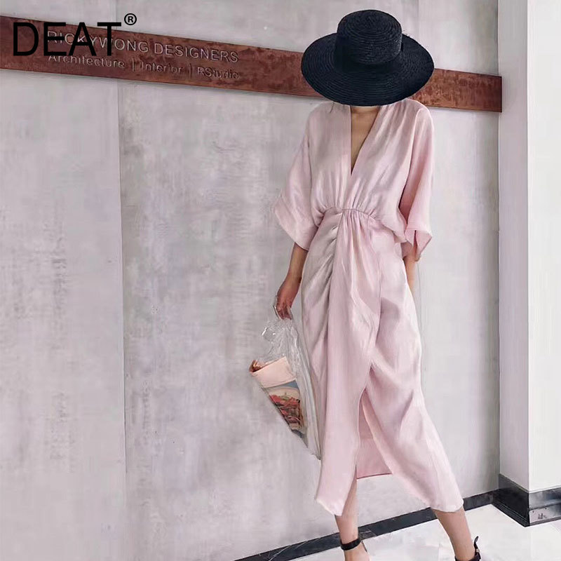 DEAT 2019 new spring and summer fashion women clothes V neck full sleeves pleated asymmetrical waist