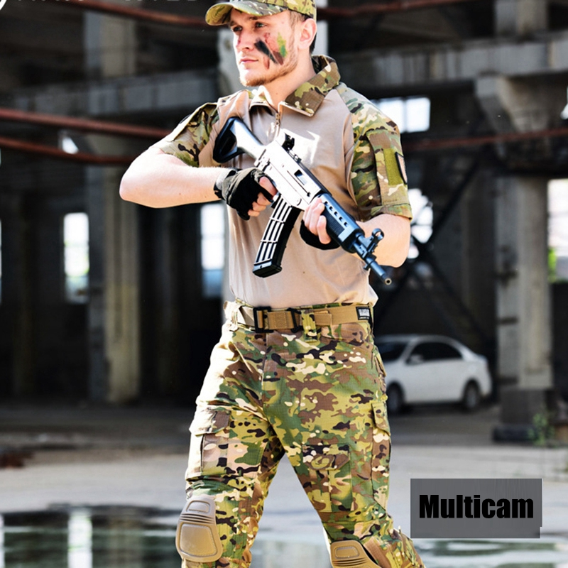 Multicam Camouflage T-Shirt Military Uniform Army Combat Suits Mens Short Sleeve Paintball Airsoft Uniform with Knee Pads цена