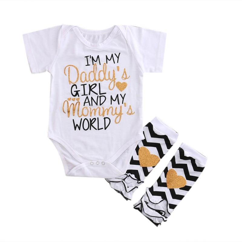 Hot Sale 2017 Infant Baby Girls Outfits Kids Cotton Short Sleeve Bodysuit Ruffle Striped Leggings Jumpsuit Clothing Leisure Set