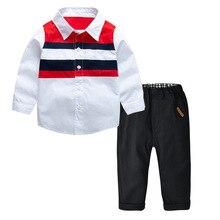 цена на 2019 Boy Children's Clothing Set Color Matching Long Sleeve Cotton Shirt Shirt+black Trousers 2PCS Gentleman Boys Set