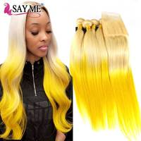 613# Blonde Yellow Ombre Straight Brazilian Hair Weave Human Hair Bundles with Closure Remy Hair With Lace Frontal Closure 13*4