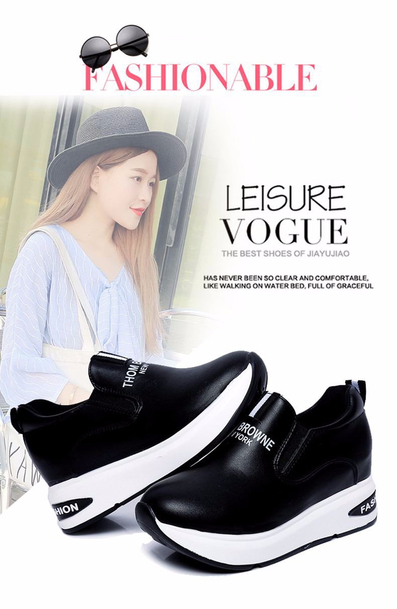 Shoes Women High Top Autumn Quality Leather Wedges Casual Shoes Height Increasing Slip On Ladies Shoes Trainers Size 35-39 YD139 (1)