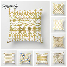 Fuwatacchi Geometric Cushion Cover Gold Printing Pillow Cover Decor Home Sofa Living Room Decorative Floral Soft Pillowcases fuwatacchi floral cushion cover feather leaves gold pillow cover for decor sofa chair square decorative pillowcases