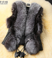 Free Shipping High Quality Autumn Winter New Arrival  Plus Size M-XXXL Western Style Fur Decorated Vest PU Woman Coat Black